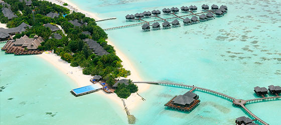 Graced With Gorgeous Tropical Vegetation Soft Sandy Beaches An Expansive Crystalline Blue Lagoon And Delightful Palms Olhuveli Beach Spa Resort